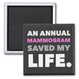 A Mammogram Saved My Life. Square Magnet