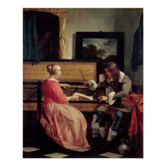 A Man and a Woman Seated by a Virginal, c.1665 Poster