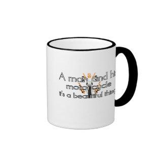 A man and his motorcycle ringer mug