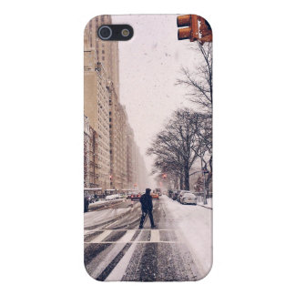 A Man Crossing A Snowy Central Park West iPhone 5/5S Covers