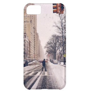 A Man Crossing A Snowy Central Park West iPhone 5C Case