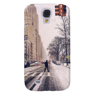 A Man Crossing A Snowy Central Park West Samsung Galaxy S4 Covers