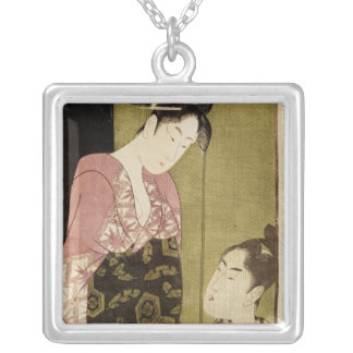 A Man Painting a Woman Square Pendant Necklace