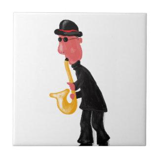 A man playing saxophone ceramic tile