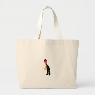 A man playing saxophone large tote bag