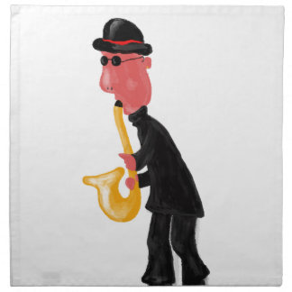 A man playing saxophone napkin
