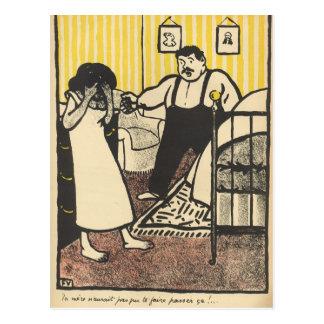 A man reproaches his pregnant mistress postcard