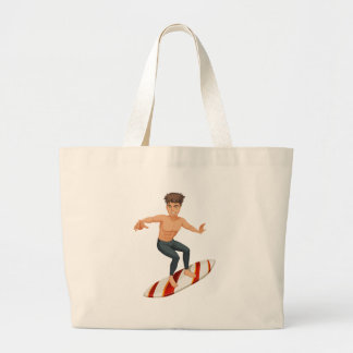 A man surfing large tote bag