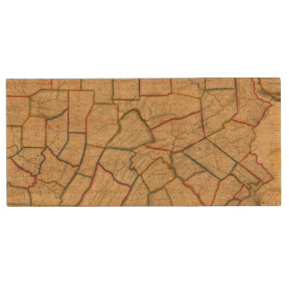 A Map Of The State Of Pennsylvania Wood USB 2.0 Flash Drive