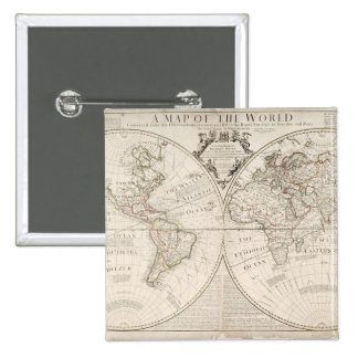 A Map of the World 15 Cm Square Badge