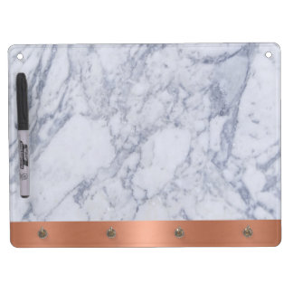 A Marble Look Dry Erase Board with Key Hooks