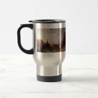A Market in Naples by Franz Richard Unterberger Stainless Steel Travel Mug