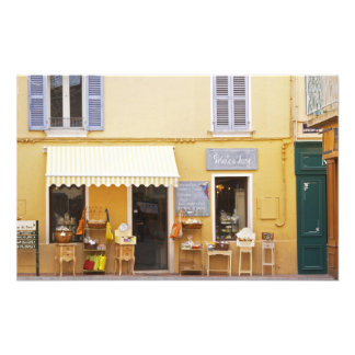 A market street in the old town with a shop photo print