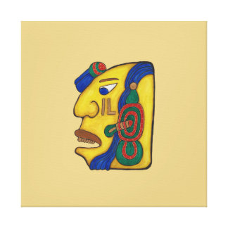 A MAYAN WOMAN CALLED HUN- GOLD BACKGROUND CANVAS PRINT