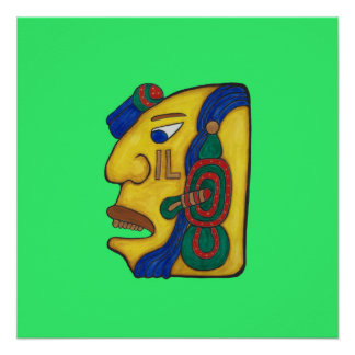 A MAYAN WOMAN CALLED HUN- LIME GREEN BACKGROUND POSTER