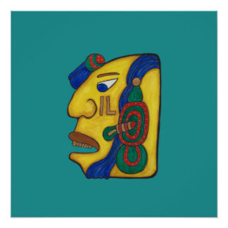 A MAYAN WOMAN CALLED HUN- TURQUOISE BACKGROUND POSTER