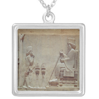 A Median officer paying homage to King Darius Silver Plated Necklace