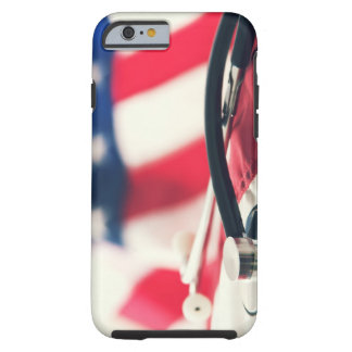 A medical stethoscope with a American flag Tough iPhone 6 Case