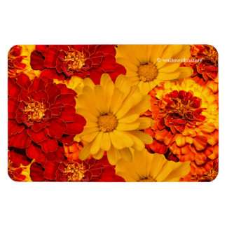 A Medley of Red Yellow and Orange Marigolds Rectangular Photo Magnet
