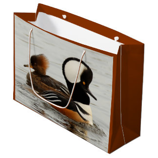 A Meeting of Hooded Mergansers Large Gift Bag
