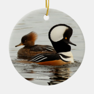 A Meeting of Hooded Mergansers Round Ceramic Decoration