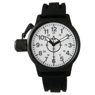 A Men's Crown Protector Black Rubber Strap Watch