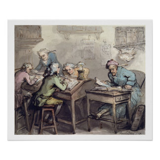 A Merchant's Office, 1789 (pen & ink and w/c over Poster