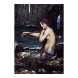 A MeRMAiD by J W WaTERHOuSE, 1901 Poster