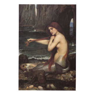 A MeRMAiD by J W WaTERHOuSE, 1901 Wood Wall Art