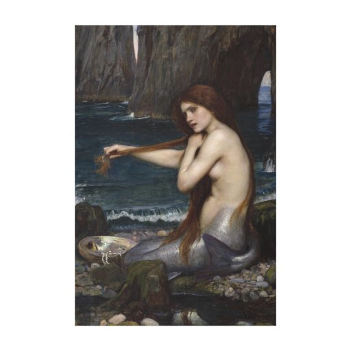 A Mermaid by John William Waterhouse Gallery Wrapped Canvas