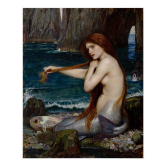 """A Mermaid"" by John William Waterhouse poster"