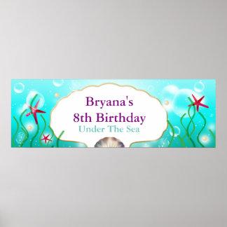 A Mermaid Sea Beach Birthday Party Banner Poster