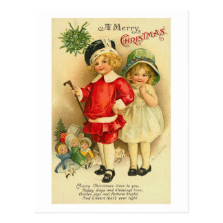 A Merry Christmas Children Card Postcards