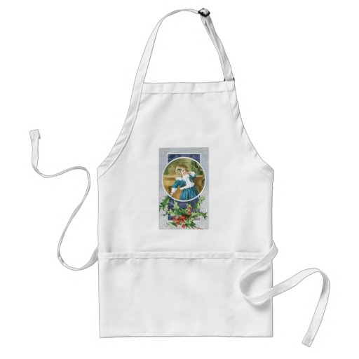 """""""A Merry Christmas"""" Girl in Blue Apron"""