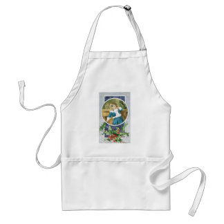 """""""A Merry Christmas"""" Girl in Blue Standard Apron"""