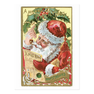 A Merry Christmas - Happy Hours Postcard