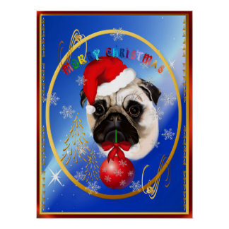 A Merry Christmas Pug Poster
