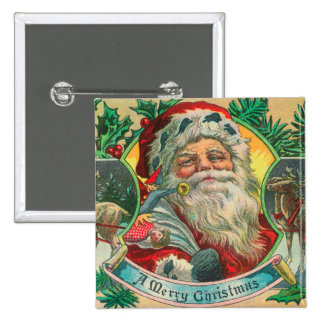 A Merry Christmas Santa and Reindeer Scene 15 Cm Square Badge