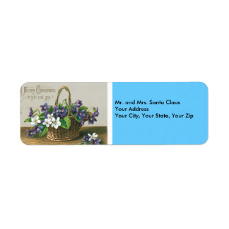 A Merry Christmas - Vintage Flowers Return Address Label