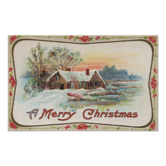 A Merry ChristmasA Country Scene Poster