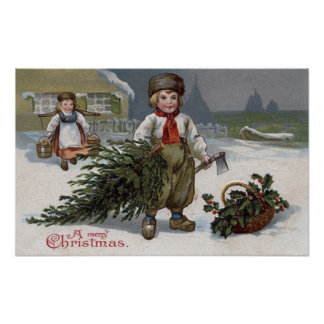 A Merry ChristmasBoy with a Cut Tree Poster