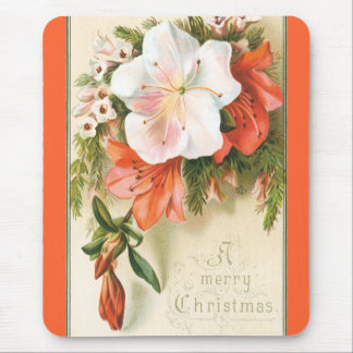 A Merry Floral Christmas Mouse Pad