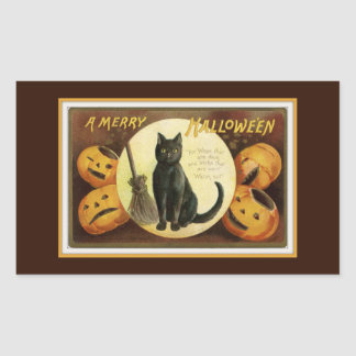 A Merry Halloween Black Cat and Pumpkins Brown Rectangular Sticker