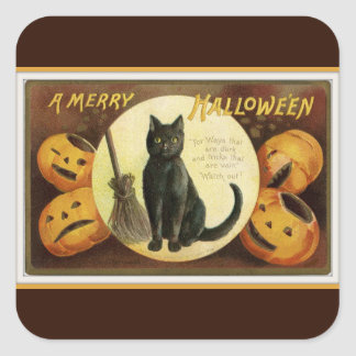 A Merry Halloween Black Cat and Pumpkins Brown Square Sticker