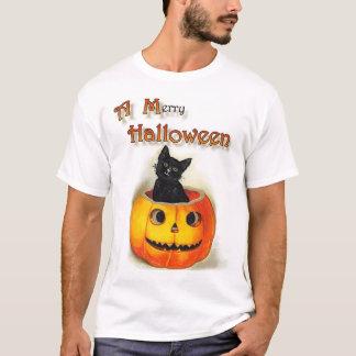 'A Merry Halloween', Black Cat & Jack-o-lantern T-Shirt