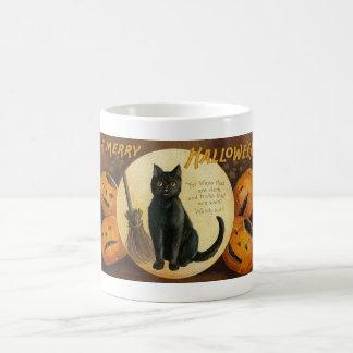 A Merry Halloween Cat and Pumpkins Card Mug