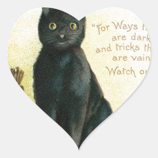 A Merry Halloween - Ellen Clapsaddle Heart Sticker