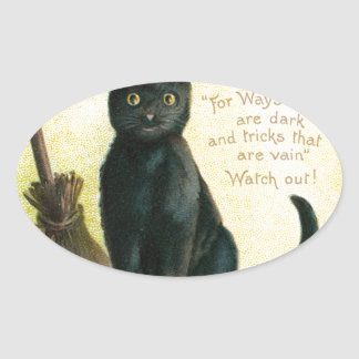 A Merry Halloween - Ellen Clapsaddle Oval Sticker