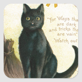A Merry Halloween - Ellen Clapsaddle Square Sticker