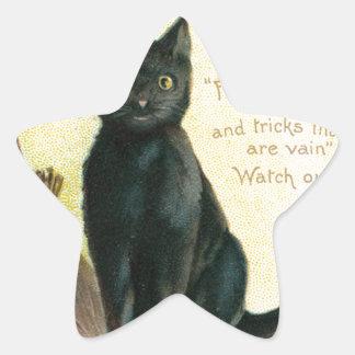 A Merry Halloween - Ellen Clapsaddle Star Sticker
